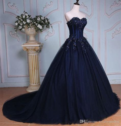 2017 Navy Blue Ball Gown Long Colorful Wedding Dresses