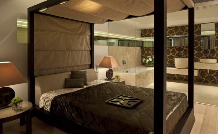 Brown cream bedroom ensuite bathroom