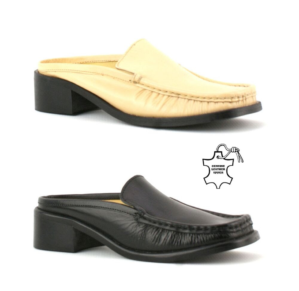 Womens Ladies Backless Penny Loafers Mules Slip on Real ...