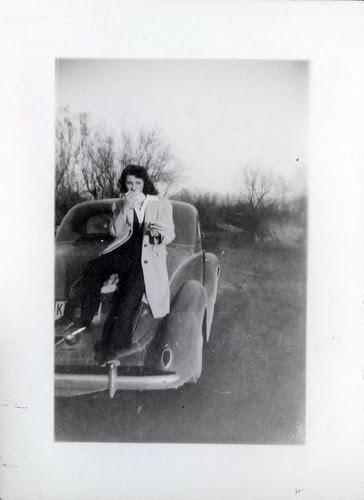 Gladys on a car trunk