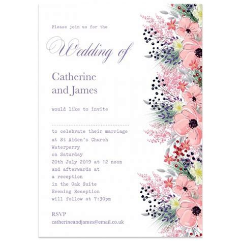 Floral Border Wedding Invitations   Paper Themes Wedding