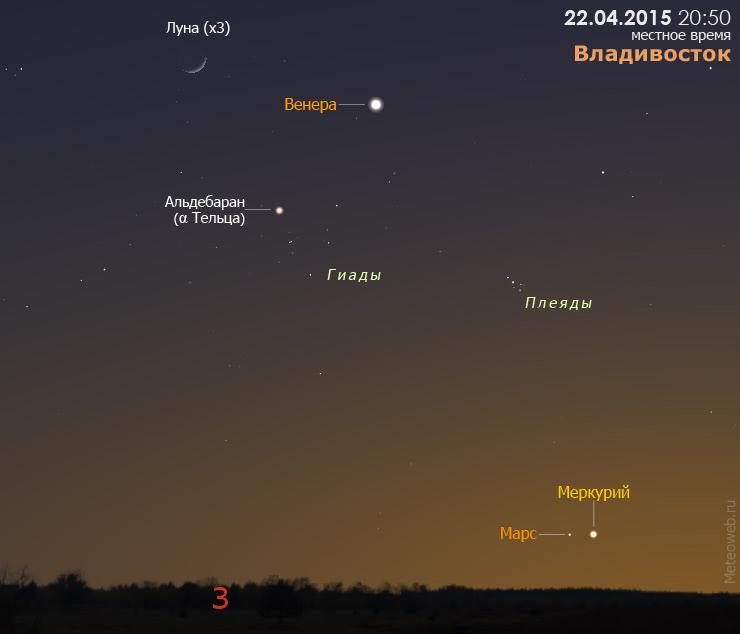 Марс, Меркурий, Венера и растущая Луна на вечернем небе Владивостока 22 апреля 2015 года