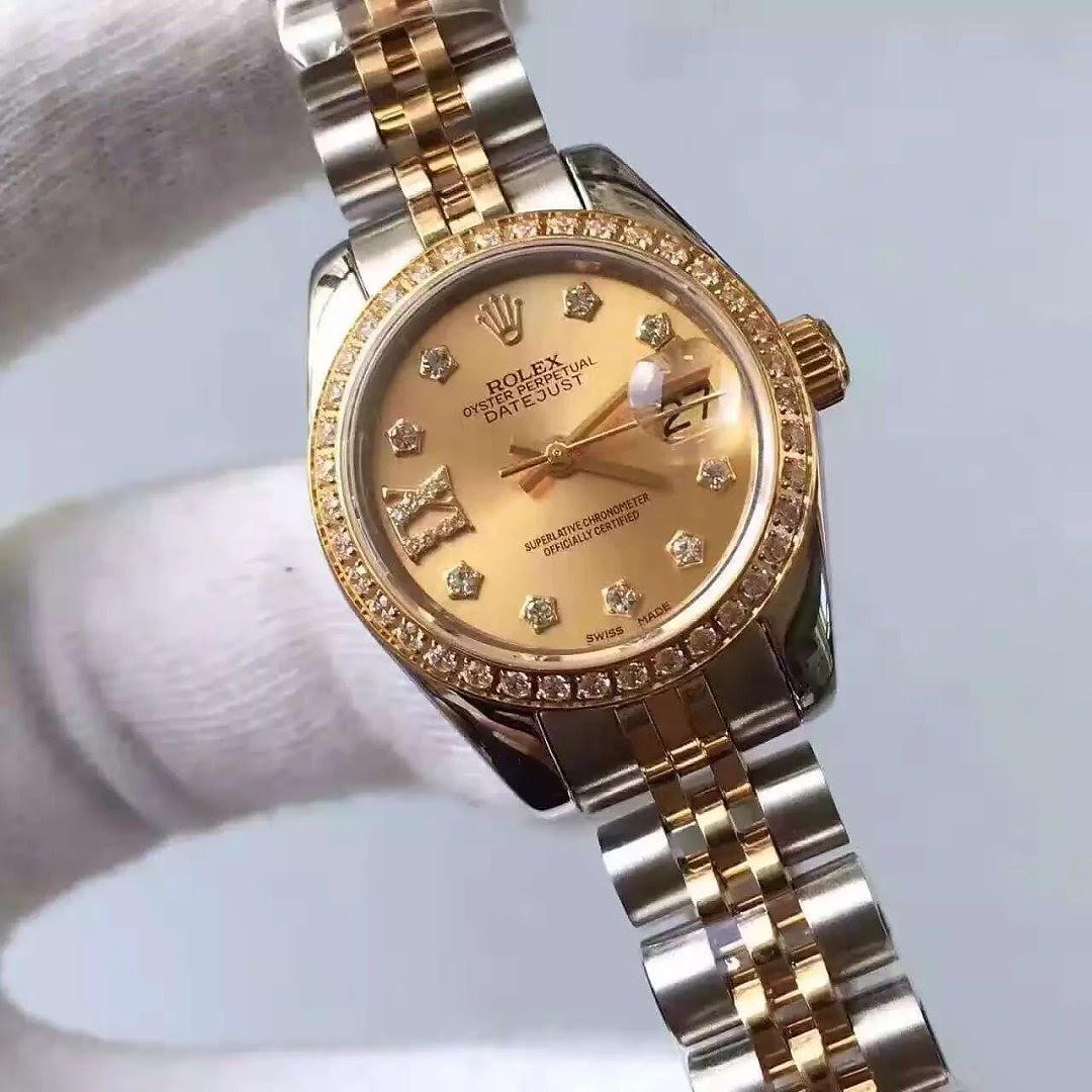 Golden 33mm Datejust Rolex with Diamonds