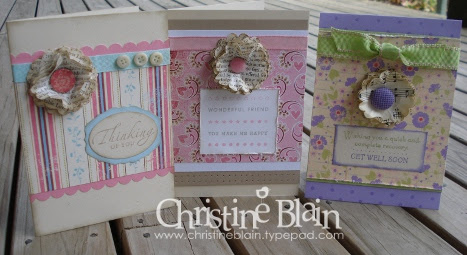 Scalloped flower cards - pink & purple