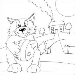 cat   ball colouring page