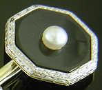 Carrington onyx and pearl dress set. (J9132)