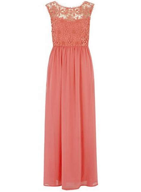 Love this coral crochet maxi dress for bridesmaids or