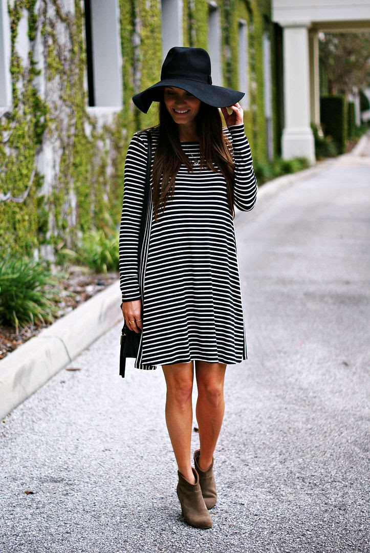 Fall Striped Swing Dress and Booties