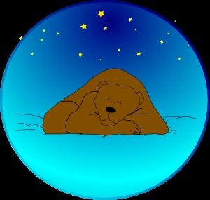 Sleeping Bear Under Stars | Circle Clip Art