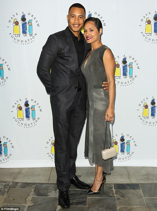 Newlyweds! Empire's Trai Byers and Grace Gealey tied the knot on Thursday in a private ceremony on Grand Cayman Island (pictured in March)