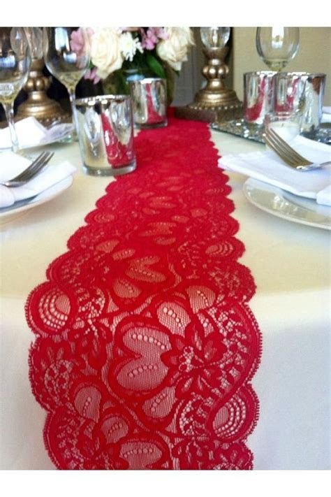 JULYS SALE! 6ft Lace Table Runner Dark Red, 5.5in wide x