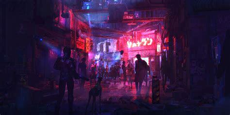 artstation cyberpunk street  sergii golotovskiy