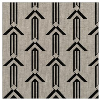 Black Stripes and Chevrons Fabric