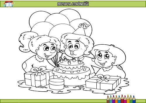 Kutlama Yapan çocuklar Boyama Etkinliği Meb Ders