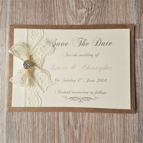Vintage Lace and Jewel Wedding Save the Date Cards