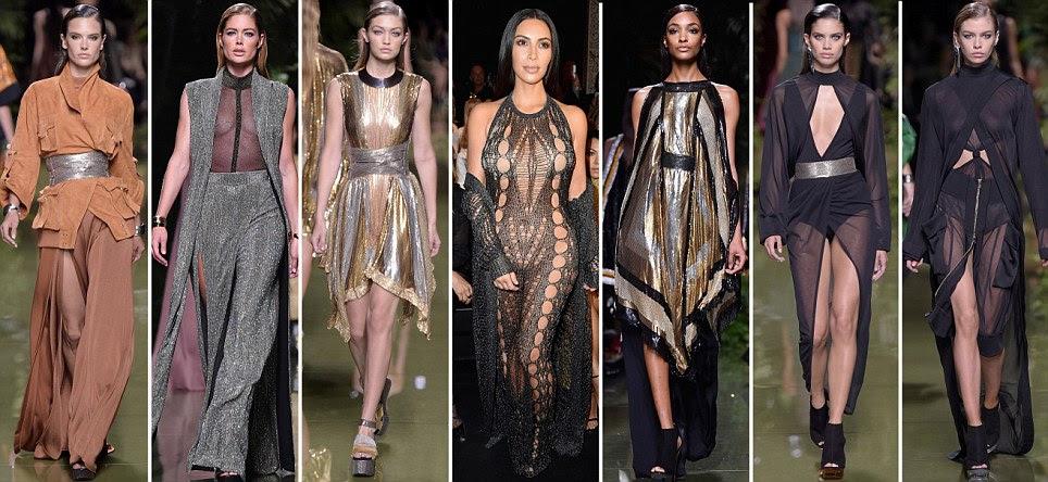 Kim Kardashian deixa nada para a imaginação em Balmain SS17 show durante Moda de Paris