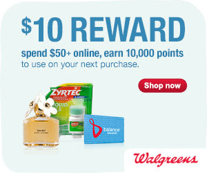 Spend $50 or more & earn 10,000 Balance Reward points