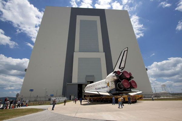 Space shuttle Atlantis is about to enter the VAB to begin STS-135 launch preparations on May 17, 2011.
