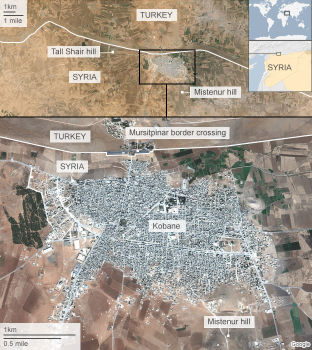 Satellite map of Kobane