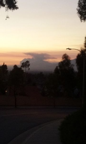 The Sand Fire's cloud of smoke as seen from a street in West Covina 60-plus miles away...on July 24, 2016.
