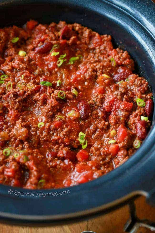 Easy Crock Pot Chili Recipe - Spend With Pennies