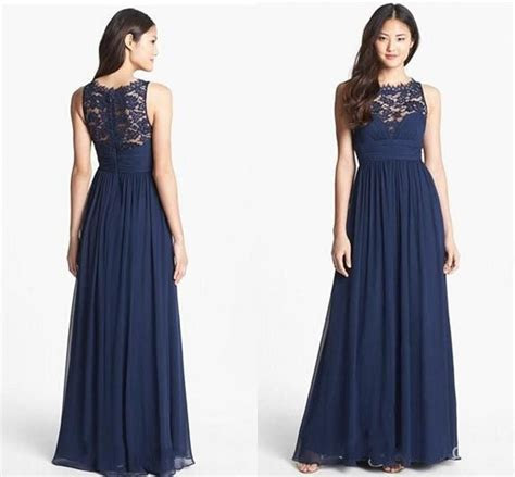 $seoProductName   dresses   Navy lace bridesmaid dress