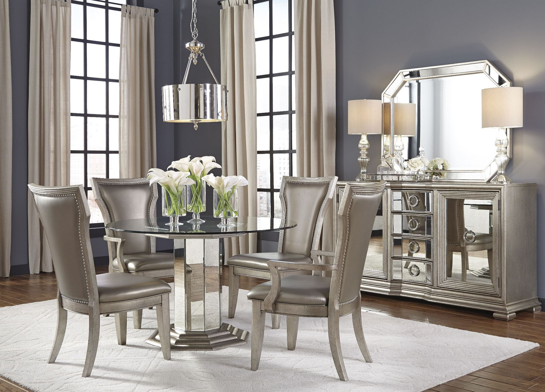 Couture Silver Round Pedestal Dining Room Set, P022230-31 ...