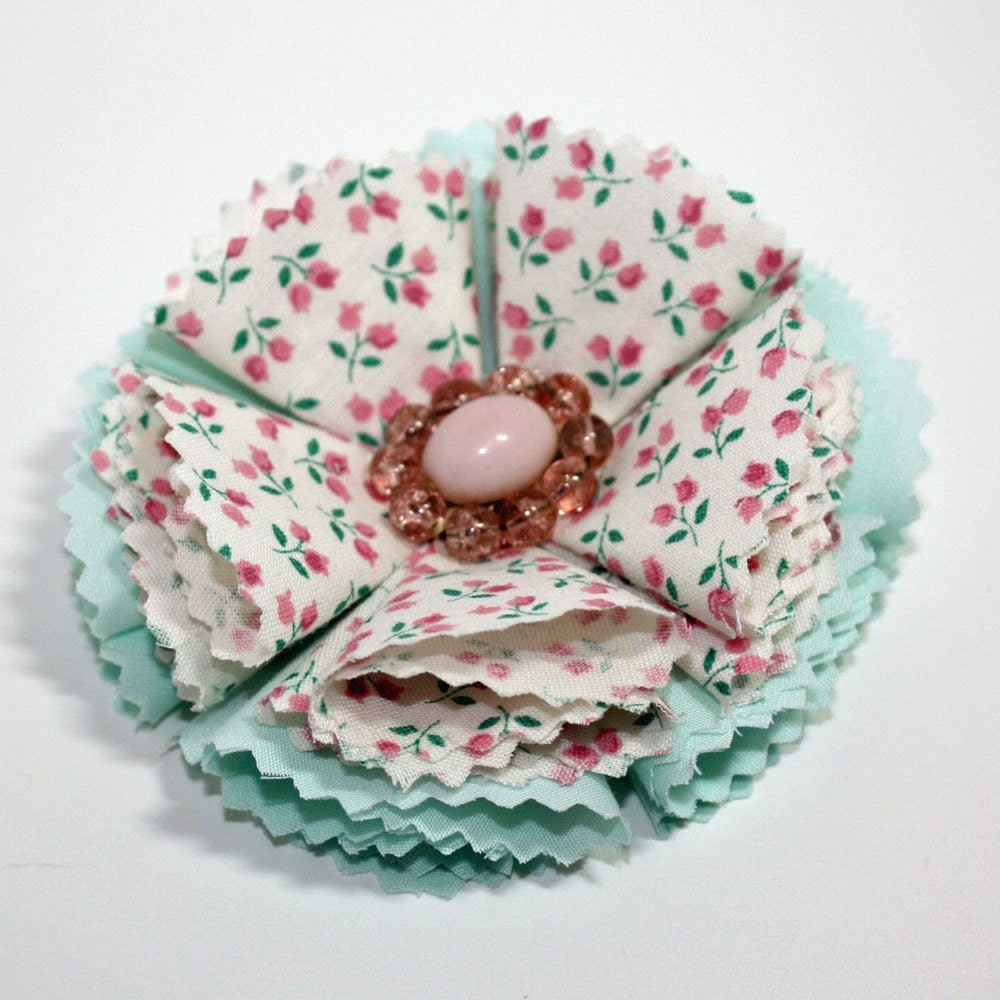Pink floral and mint green handmade fabric flower brooch