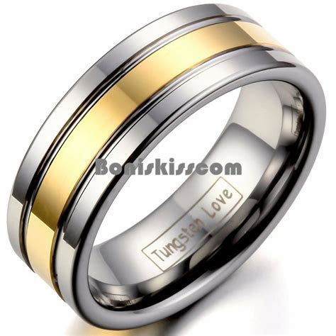 Men's 8mm Silver Tungsten Carbide Ring Gold Tone Stripe