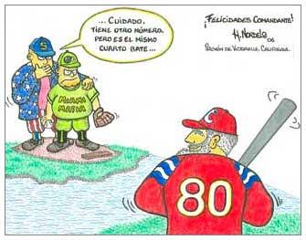 Caricatura 80 cumpleños de Fidel, Gerardo Hernández