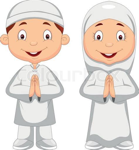 vector illustration  muslim kid cartoon stock vector
