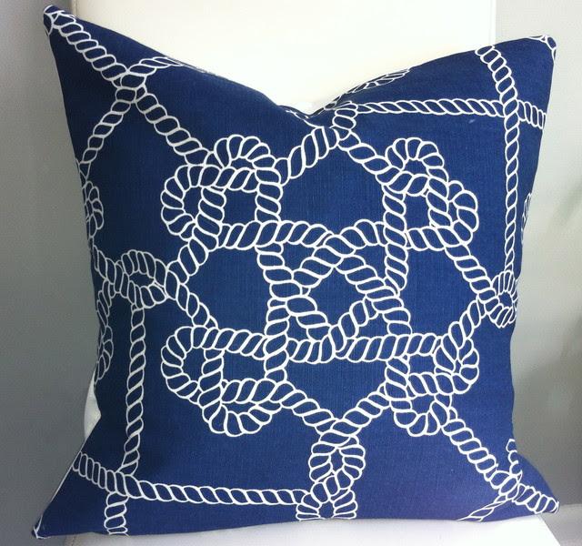 Decorative Pillow Cover - Nautical Pillow - Navy Pillow - 18X18