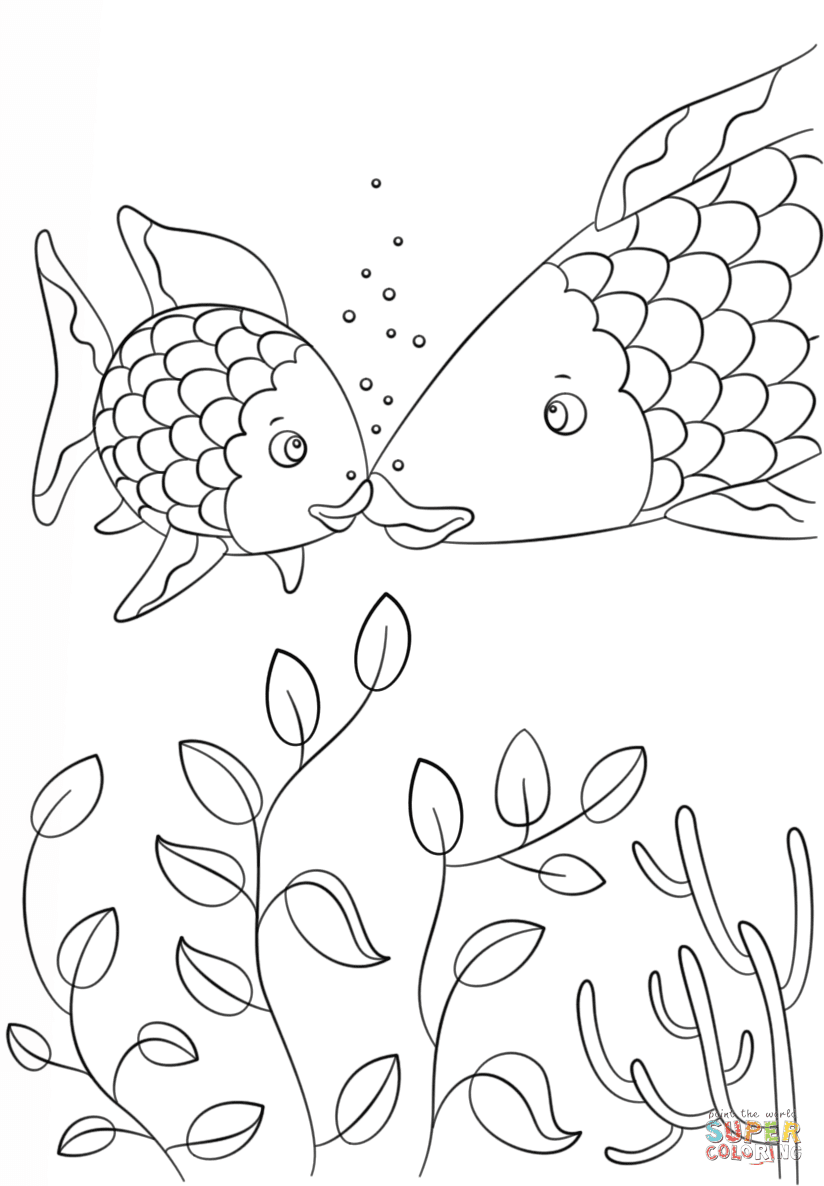 Small Fish Speaks to Rainbow Fish coloring page | Free ...