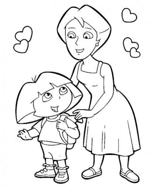 Mama Dora Dibujo De Dora Con Su Mama Para Pintar Y Colorear A