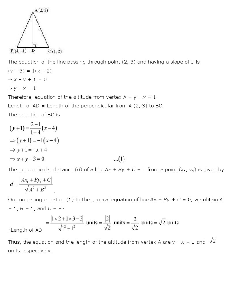 ncert maths notes of straight lines Revision notes on straight lines given two points p(x1, y1) and q(x2, y2) the  length pq is given by length pq = √(x2 – x1)2 + (y2 – y1)2 section formula: 1.