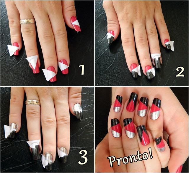juliana leite unhas decoradas nail art formatos gerométricos unhas diferentes com adesivo como fazer