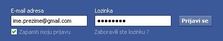 Facebook registracija