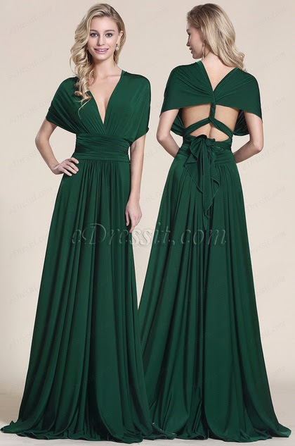 Sleeved Convertible Dark Green Bridesmaid Dress
