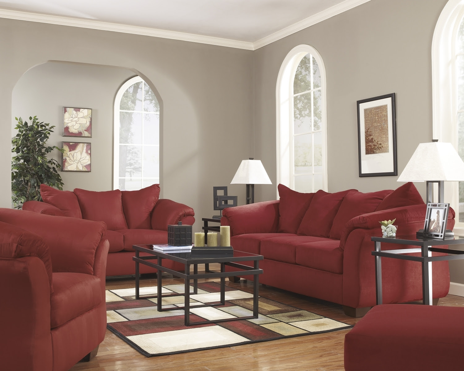 Red Fabric Sofa With Full Sleeper By Ashley Signature Design