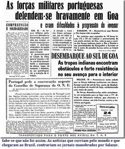Notícias de Salazar sobre Goa, Damão e Diu
