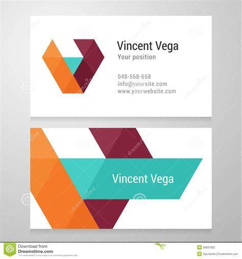 Modern Letter V Business Card Template Stock Vector
