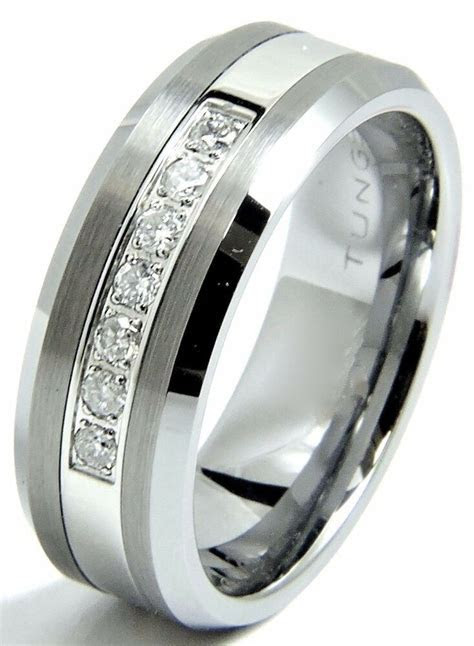 Men's Diamond Tungsten Wedding band Ring 8mm Real Diamonds