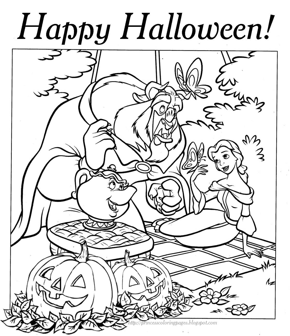 Beauty And The Beast Halloween Coloring Pages Print Color Craft