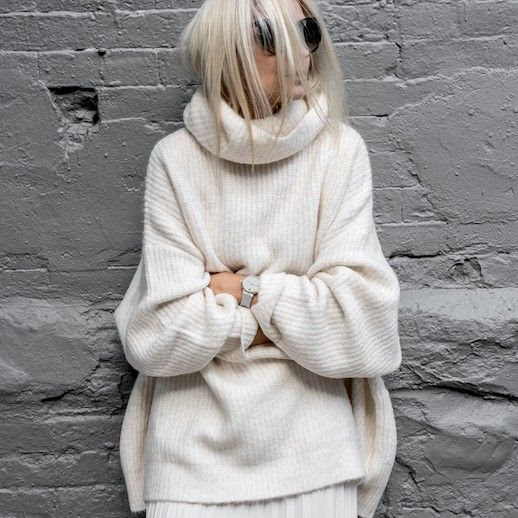 Le Fashion Blog Minimalistic Winter White Sunglasses White Turtleneck Sweater Via Figtny
