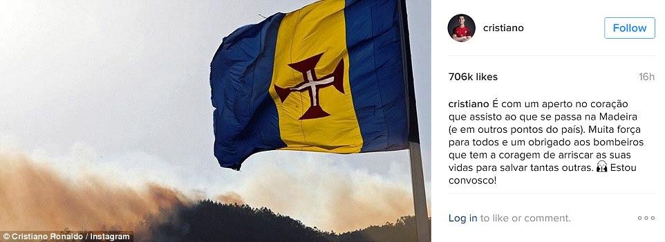 Cristiano Ronaldo postou uma imagem dos fogos com a bandeira da Madeira em sua conta Instagram e, claro, tem 706.000 gostos dentro de horas.  Ele agradeceu aos bombeiros para 'arriscando suas vidas para salvar outras pessoas'