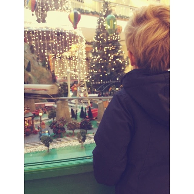 Holiday train garden with my little train man... #simplethingssunday, #1000gifts,