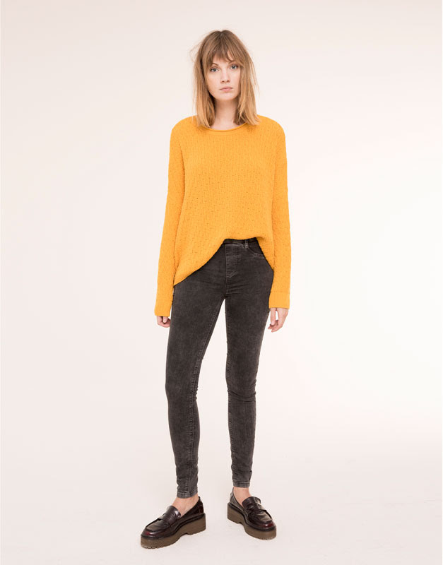 Pull&Bear - mujer - jeans - jegging básico cintura goma - negro - 09684320-I2015