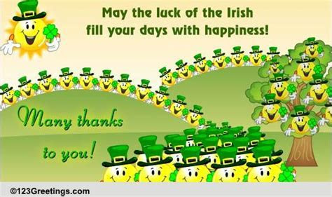Many Thanks For St. Patrick's Day! Free Thank You eCards