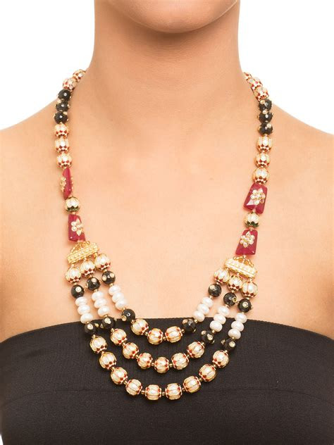 buy tri layered beaded kundan necklace  label amara