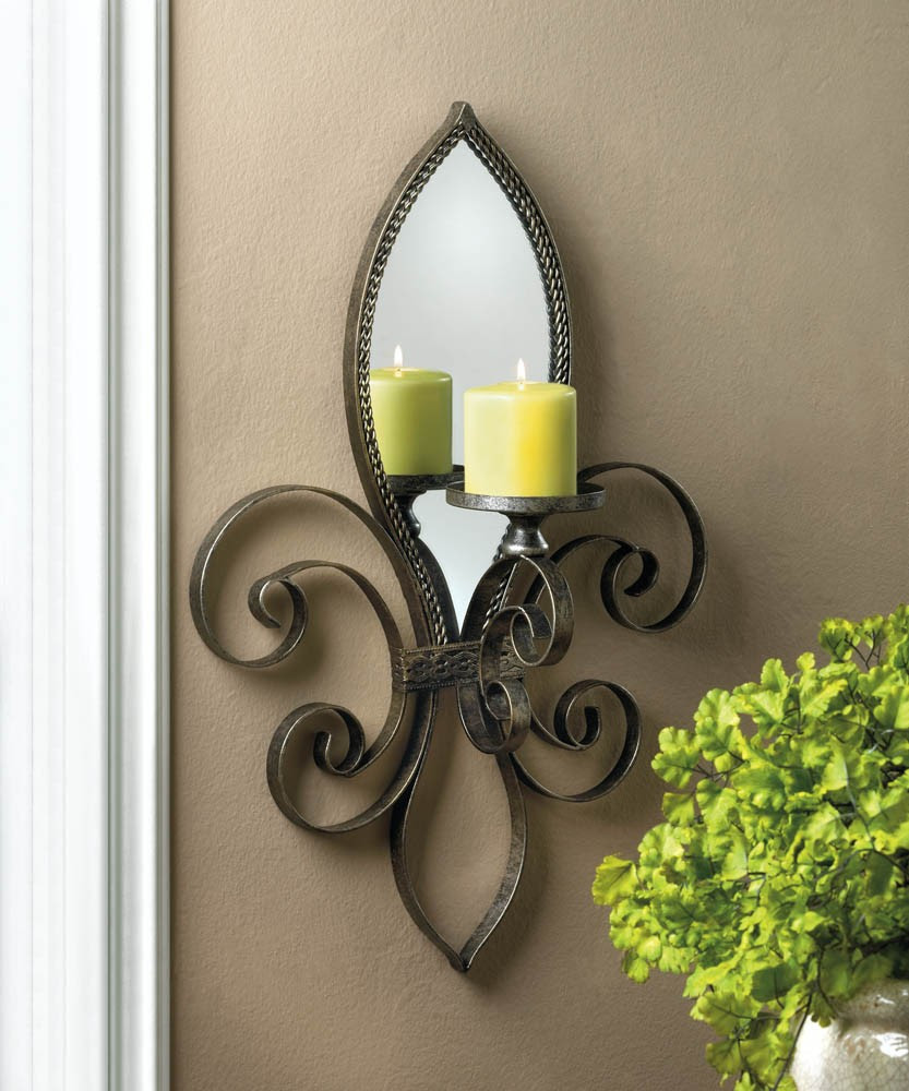Mirrored Wall Sconce Candle Holder Votive Tea Light Iron ...